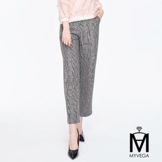 【MYVEGA 麥雪爾】MA英式格紋西式套裝長褲-淺灰