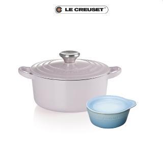 【Le Creuset】琺瑯鑄鐵圓鍋18薰衣草-鋼頭+早餐碗盤組(momo獨家限量組)