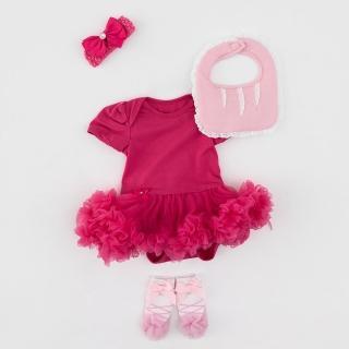 【日安朵朵】女嬰雪紡蓬蓬裙連身衣禮盒–桃紅芭比(包屁衣+圍兜+寶寶襪)