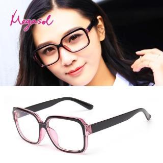 【MEGASOL】UV400抗UV濾藍光眼鏡時尚男女中性大框手機眼鏡(黑框矩方大框PX-5218-多色選)
