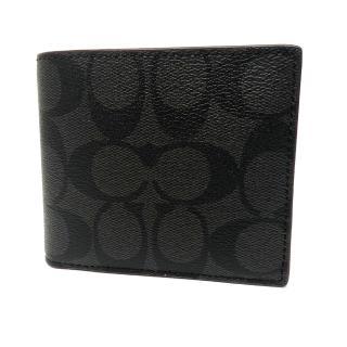 【COACH】C LOGO 8卡男款短夾附活動證件夾(黑褐)