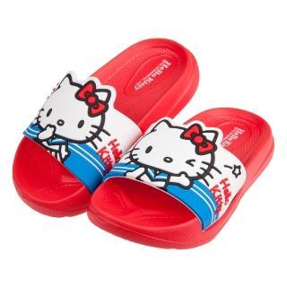 【布布童鞋】HelloKitty凱蒂貓水手服紅色超輕量兒童拖鞋(C0O374A)