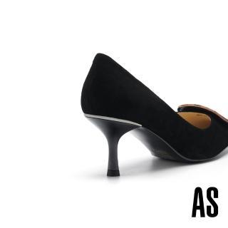 【AS 集團】時髦典雅豹紋方釦羊麂皮尖頭高跟鞋(黑)