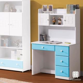 【Hampton 漢汀堡】克萊天空藍雙色3尺書桌組(一般地區免運費/書桌/桌子)