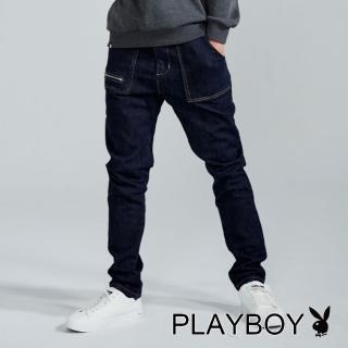 【PLAYBOY】造型口袋牛仔褲(深藍色)