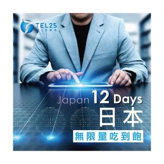 【TEL25】日本網卡上網卡 12日 4G上網 吃到飽上網SIM卡(不限流量  插卡即用)