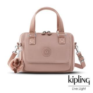 【KIPLING】氣質玫瑰粉翻蓋手提側背包-ZEVA/