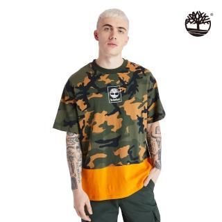【Timberland】男款軍綠迷彩有機棉寬版短袖圓領T恤(A2AG7AP9)