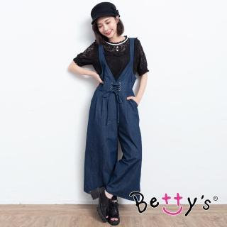 【betty's 貝蒂思】鬆緊腰圍連身牛仔褲(深藍)