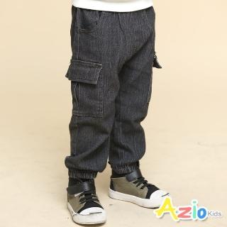 【Azio Kids 美國派】男童  長褲 側邊雙口袋鬆緊縮口牛仔長褲(黑)