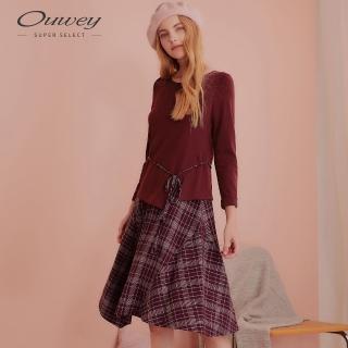 【OUWEY 歐薇】格紋拼接假兩件長袖洋裝(紅)