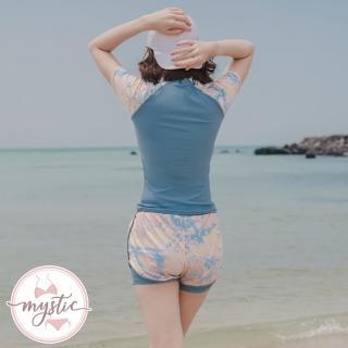【mystic 神秘者】女泳裝 兩件式 大尺碼 短袖透氣網褲裝兩件式泳衣(藏藍色/粉色/湖藍色)