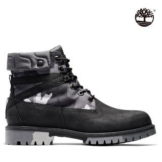 【Timberland】男款黑色迷彩全粒面經典防水6吋靴(A29P7001)