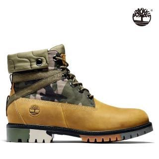 【Timberland】男款小麥黃迷彩全粒面經典防水6吋靴(A29NX231)