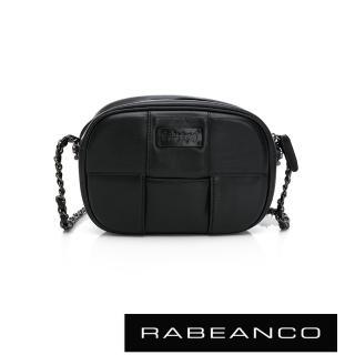 【RABEANCO】COLY牛皮編織鏈帶斜背包-小(黑)