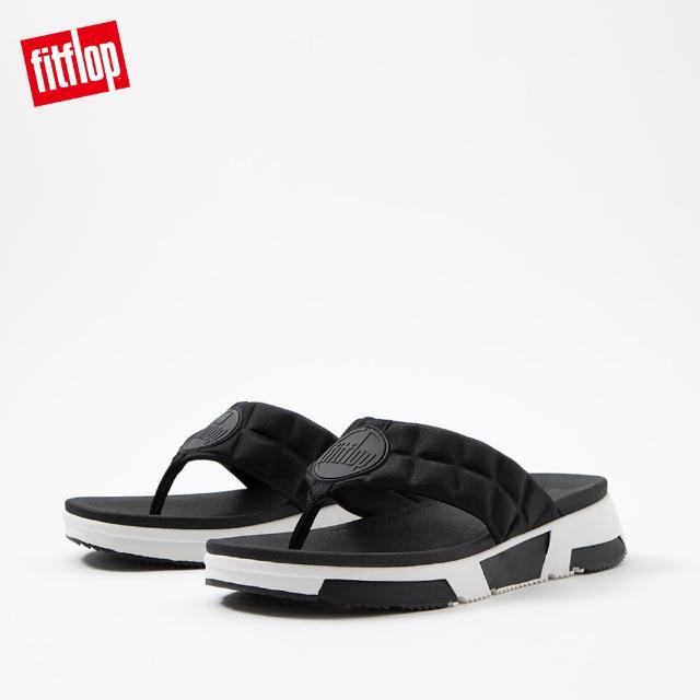 【FitFlop】HAYLIE QUILTED CUBE TOE-THONGS 運動風夾腳涼鞋-女(黑色)