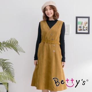 【betty's 貝蒂思】無袖立領長袖兩件式洋裝(駝色)