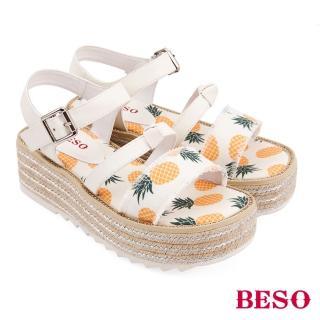 【A.S.O 阿瘦集團】BESO活力俏媽咪派對水果蝴蝶結船台涼鞋(白)