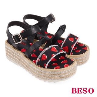 【A.S.O 阿瘦集團】BESO活力俏媽咪派對水果蝴蝶結船台涼鞋(黑)