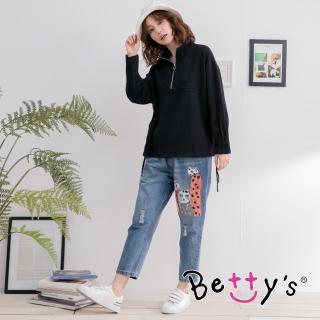 【betty's 貝蒂思】貓咪繡線拼布男友褲(牛仔藍)