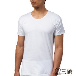 【三槍牌】時尚型男純棉圓領短袖汗布衫(白3件組 616)