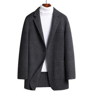 【米蘭精品】毛呢外套羊毛西裝(簡約灰格加厚保暖男外套73yu12)