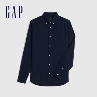 【GAP】男裝 簡約風格修身款長袖襯衫(619973-海軍藍)