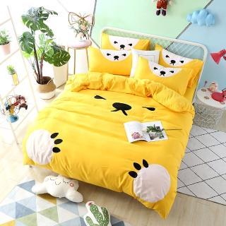 【生活提案】熊愛睏柔絲絨四件式被套床包組 雙人(雙人被套床包組)