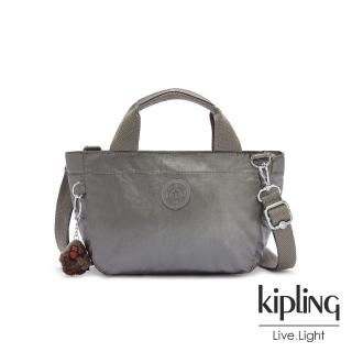 【KIPLING】寧靜月光灰手提兩用斜背包-SUGAR