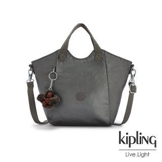 【KIPLING】寧靜月光灰輕盈手提斜背包-NORI/