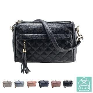 【89.Alley】側背包 手感軟皮革菱格雙層流蘇款兩用斜背包 女包(5色)