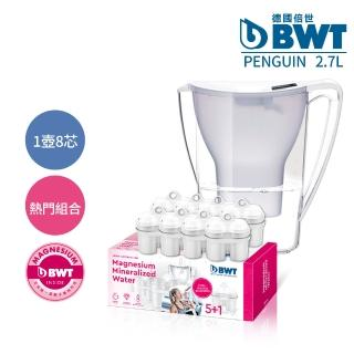 【BWT 德國倍世】Penguin 2.7L 鎂離子健康濾水壺 -白色+鎂離子長效濾芯環保包(1壺8芯組)