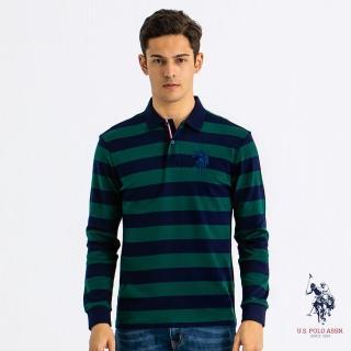 【U.S. POLO ASSN.】長袖大馬條紋POLO衫-綠色(純棉 POLO)