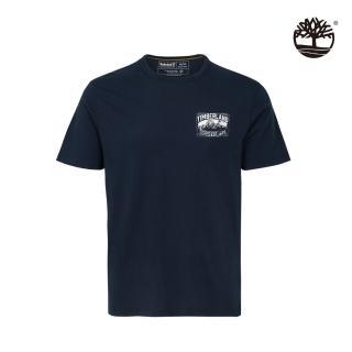 【Timberland】男款深寶石藍山脈圖騰有機棉短袖圓領T恤(A2EVJ433)