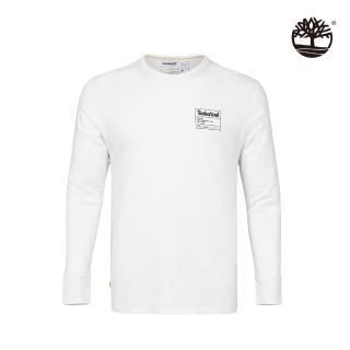 【Timberland】男款白色樹形LOGO有機棉長袖圓領上衣(A2EVU100)