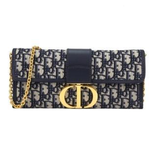 【Dior 迪奧】30 MONTAIGNE 經典老花鍊帶斜背手拿包(藍色)