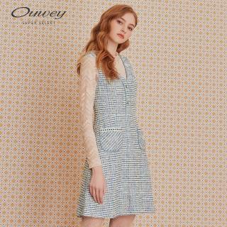 【OUWEY 歐薇】小香風織蔥A字無袖洋裝(藍)