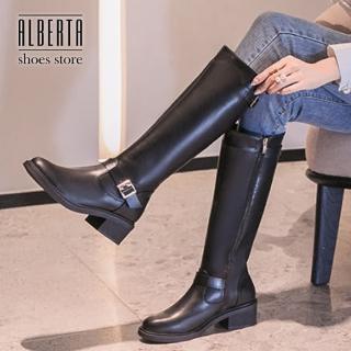 【Alberta】5CM皮革側拉鍊長靴 百搭側邊飾釦 筒高34CM粗跟靴