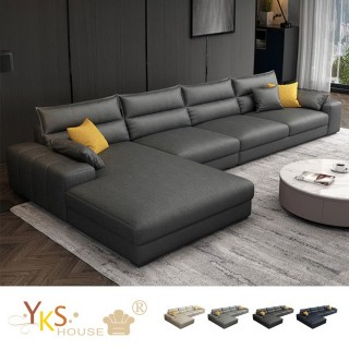 【YKSHOUSE】傑尼斯L型布沙發-獨立筒版(四色可選)