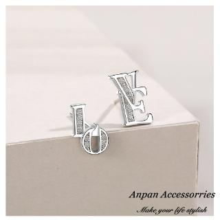 【Anpan】S925純銀飾 韓東大門LOVE珍愛鑽石耳釘式耳環
