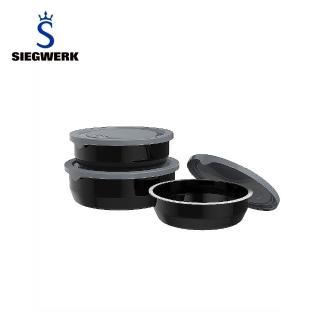 【SIEGWERK】德國不鏽鋼琺瑯保鮮鍋-圓形3入組-耀岩黑