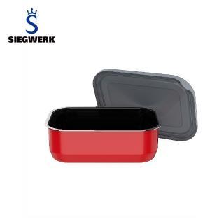 【SIEGWERK】德國不鏽鋼琺瑯保鮮鍋-方形1入-1100ML火焰紅