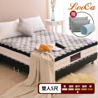 【LooCa】石墨烯遠紅外線+乳膠+M型護框獨立筒床墊(雙5尺-贈石墨烯枕)/