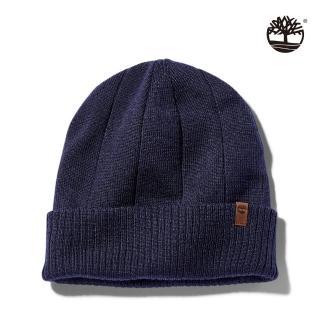【Timberland】中性深寶石藍品牌標誌針織毛帽(A1EGY451)