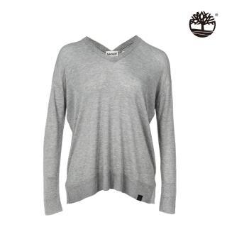 【Timberland】女款中麻灰前短後長長袖V領T恤(B2702C81)
