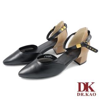 【DK 高博士】質感牛皮 金屬一字扣 氣墊尖頭跟鞋 71-0076-90(黑色)