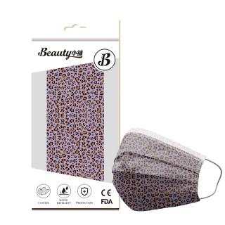 【Beauty小舖】印花3層防護口罩_豹紋-狂野紫10入/盒(符合CNS 14774國家檢驗標準)