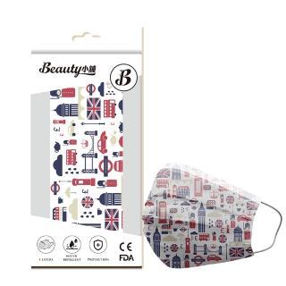 【Beauty小舖】印花3層防護口罩_英倫格調10入/盒(符合CNS 14774國家檢驗標準)