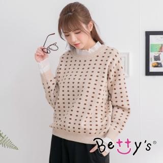 【betty's 貝蒂思】圓點拼接荷葉袖毛衣(卡其)