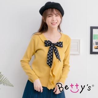 【betty's 貝蒂思】翻領荷葉點點領結毛衣(鉻黃色)